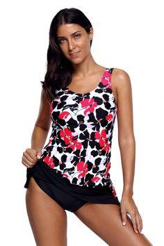 d220e59fe63f6 10.12 Pink Black Floral Tankini 2pcs Skirtini Swimsuit Tankini Top, Floral  Tankini, Split