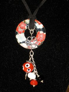 Lampwork beads, Sterling Silver and Decoupaged Washer Necklace