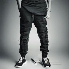 Ripped Jeans For Men Skinny Distressed Biker Jeans Streetwear swag Black Designer kanye west Plus Size S-2XL