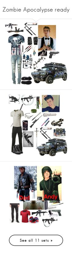 """Zombie Apocalypse ready"" by ironkyle ❤ liked on Polyvore featuring Yves Saint Laurent, Alexis Bittar, Hilts Willard, NIKE, Zone, RIFLE, Athlix, Cold Steel, Sophnet. and Balmain"