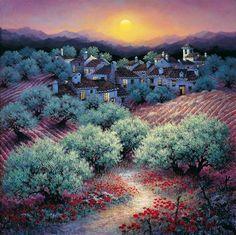Sunny Andalusia in the artist Luis Romero Luis Romero (LUIS ROMERO) - Spanish painter, winner and participated in many international exhibitions, born in Ronda, Malaga Province, on the magnificent Mediterranean coast of Costa delta Sol (Costa del Sol).