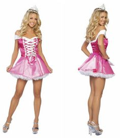 Rose Pink Off Shoulder Sleeping Beauty Princess Dress 2013 New Women Sexy Halloween Cosplay Costume Dress Uniform With Crown $17.90