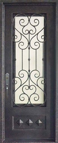 Hand forged wrought iron door, with beautiful grille over tinted ...