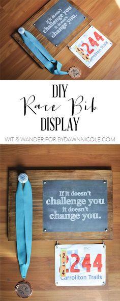 Fabulous ideas for a DIY Race Bib + Medal Display.