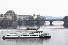 Jazz boat on Vltava River. View from Charles Bridge, Prague. January 2014