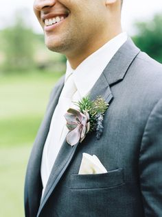 Charcoal Suit with a Succulent Boutonniere | Emily Katharine Photography | Pastel Natural Glam Wedding