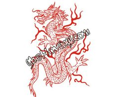 Asian Dragon Tattoo StyleFeng ShuiVinyl Wall Art by ghettovinyl - can be sized