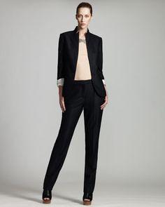 Stella McCartney Pinstripe Jacket, Pants & Beaded Jersey Tee - Neiman Marcus