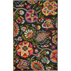 Brimming with 70s style with a touch of hippie flair, this funky area rug lays a stylish foundation for your living room ensemble. Machine woven in Turkey from stain-and-fade-resistant polypropylene with a latex backing, this charismatic design showcases an oversized floral paisley print in vibrant rainbow colors over a rich, chocolate brown background. Establish an eclectic aesthetic by rolling this rug out in to define the space, then arrange a button-tufted velvet tuxedo sofa and a…