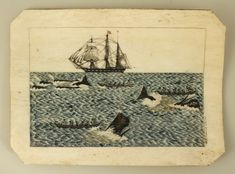 Whaling scene on a whale panbone plague engraved by British whaleship surgeon William L. Great Whale, Primitive Painting, Whale Art, Nautical Art, Popular Art, Naive Art, Ship Art, Illustrations, Folk Art