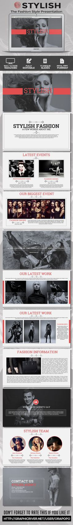 Stylish The Fashion Style Presentation #design #slides Download: http://graphicriver.net/item/stylish-the-fashion-style-presentation/11220893?ref=ksioks