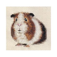 Tri-colour GUINEA PIG, CAVY ~ Full counted cross stitch kit + all materials   Could be used for tapestry crochet.