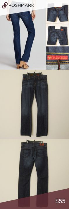 "AG J1411 Straight Leg Jeans AG Adriano Goldschmied J1411 Dark Wash Straight Leg Denim Jeans. Size 32. Worn 2-3 times.  Leather tag on the back has wear from washing, otherwise still in great condition!                                                Materials:  100% Cotton Actual Measurements (laying flat): • Waist - 33"" around  • Hips - 19"" • Front Rise - 9.5"" • Back Rise - 13""  • Inseam - 33""  • Length - 41""  • Leg Cuff - 8.5"" ~❌SWAP❌TRADE ~ ✔️❤️Bundles📦💕 ~✔️Smoke-free/pet-free home…"