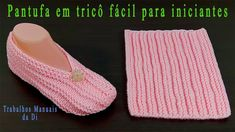 Pantufa em tricô fácil para iniciantes - YouTube Lace Knitting Patterns, Knitting Stitches, Knitting Designs, Crochet Designs, Crochet Bra, Crochet Sandals, Crochet Shoes, Knit Slippers Free Pattern, Knitted Slippers