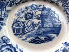 Antique Sweden Gefle Tokio Old Plate wall plaque White blue Craquelure #Gefle