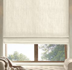 Belgian Heavyweight Textured Linen Flat Roman Shade - Restoration Hardware - for bedroom and kitchen windows Roman Curtains, Curtains With Blinds, Blinds For Windows, Window Blinds, Shades For Windows, Sunroom Windows, Privacy Blinds, Sheer Blinds, Blinds Diy