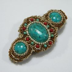 Turqoise and red coral pearls bead embroidered barrettes by daniellart, $66.00
