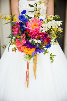 Vibrant Bouquet with Ribbons|Beautiful Backyard Wedding in British Columbia|Photographer:  Joanna Moss Photography