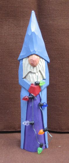 Hand Carved Santa with Lights $20.00, via Etsy
