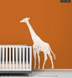 Kids wall decal white giraffe orange wall chic by LeoLittleLion
