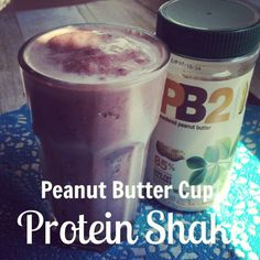 Peanut Butter Cup Protein Shake w/ PB2 by Beautifullysick.com