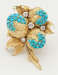 Flower brooch with turquoise cabochons and diamonds - Timothy Tew