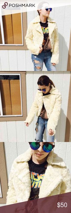 Cream Fur Jacket Faux fur cream jacket Size small/med Perfect condition Calvin Klein Choice Free People Jackets & Coats