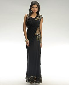 Black Lengha Sari on Exclusively.In