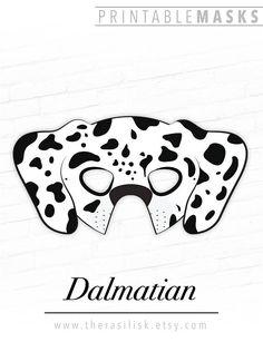 Dalmatian Mask, Printable Animal Mask, Dog Mask, Puppy