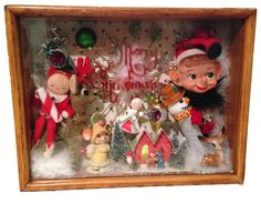 Vintage Christmas Collage Mixed Media Art Shadowbox Diorama Pop Art Lefton Napco #PopArt