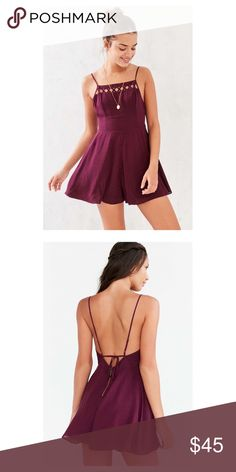 Ava Square Neck Romper Maroon/Wine colored romper from Urban Outfitters. Only been worn a couple of time and in great condition! Criss cross cut out neck line with a zipper on the back and a tie back. Urban Outfitters Dresses