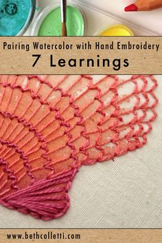 Recently I've started to delve into hand embroidery and watercolor. Before starting an embroidery piece, I experimented with watercolor paint on different fabrics, and also tried using watercolor pencils vs watercolor brushes. Here are a few of my learnings… Hand Embroidery Patterns Flowers, Hand Embroidery Stitches, Embroidery Techniques, Embroidery Kits, Fabric Patterns, Cross Stitch Embroidery, Machine Embroidery, Embroidery Designs, Embroidery Tattoo