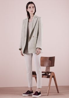 Hepburn Double Breasted Blazer - Oatmeal Silk, Slub  Tape Panel Tee - Heather Grey VIscose Jersey, Skinny Pants - Stone Stretch Cotton