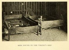 1907 Halftone Print of Beds found in Viking Ship Gagstad~ Norway    Wood  Frames