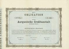 HWPH AG - Historische Wertpapiere - Aargauische Creditanstalt / Aarau, 18__, Blankett einer 4,5 % Obligation über 1.000 Franken