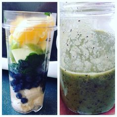 Breakfast: banana, blueberries, half a green apple, half orange, baby kale, spinach and water  Enjoy