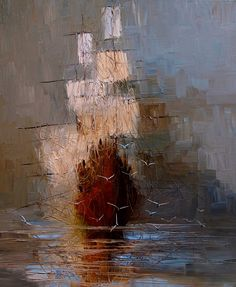 Ship sailing through the fog (at least this is what I picture when looking at this beautiful oil painting).