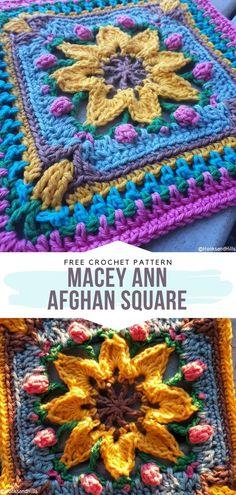 How to Crochet Macey Ann Block - Ariana Slip Stitch Crochet, Crochet Lace Edging, Crochet Cross, Crochet Flower Patterns, Crochet Stitches Patterns, Diy Crochet, Crochet Designs, Crochet Flowers, Crochet Borders
