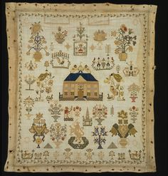 Sampler late 18th century Linen embroidered with coloured silks Length 8.5 cm Width 11 cm T.11-1937