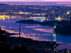 Cypress Lookout, North Vancouver (Arrive an hour before sunrise to get both the city lights and the dawn glow.)