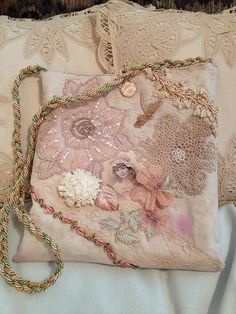 Hand-made, dyed vintage lace, applique hand bag/purse #1 | Flickr - Photo Sharing!