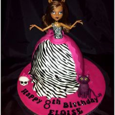My daughters birthday cake!  Monster high clawdeen wolf hot pink and zebra print doll cake :)