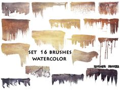 16 watercolor brushes photoshop brushes png abr by JustynaJaszke