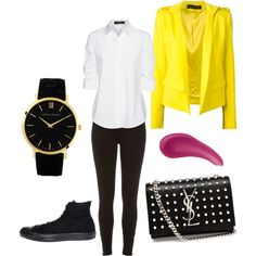 A fashion look from August 2015 featuring Steffen Schraut blouses, Alexandre Vauthier blazers and River Island leggings. Browse and shop related looks.