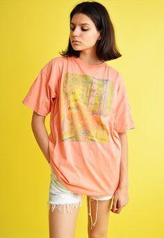 Cool+90's+retro+peach+pastel+oversized+t-shirt+tee
