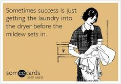 Sometimes success is just getting the laundry into the dryer before the mildew sets in. Lol