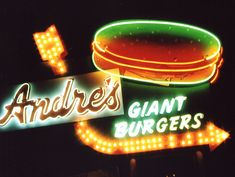 Andre's Giant Burgers neon sign in Bakersfield