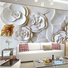 Personalizzato 3d foto 3d wallpaper carta da parati in rilievo carta da parati moderna minimalista salotto tv sfondo rose bianche 3d carta da parati(China (Mainland))