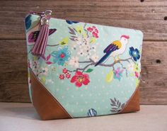 Cosmetic bag  Make up bag clutch in beautiful blue fabric by Inges