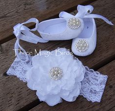 Baby SNOW White Lace Satin Crib Shoes & matching  5.5'' Flower Headband SET,Christening Baptism Wedding Shoes Headband SET,Baby 1st Shoes on Etsy, $31.21 AUD